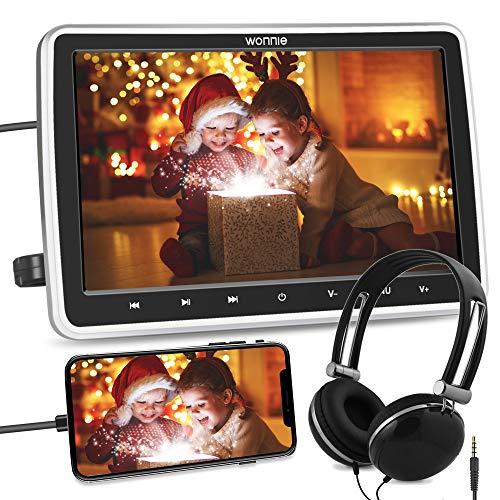 """WONNIE 10.5"""" DVD Player Auto 1080p HD Tragbarer DVD Monitor HDMI Bildschirm Kopfstütze Monitor für Kinder AV In/Out 12v Memory SD/USB mit Kopfhörer"""