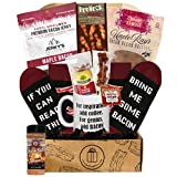 Bacon Gift Basket For Men and Women - Fathers Day Food Basket! Bacon Gifts Box with Maple Bacon Almonds, Bacon Socks, Bacon Candy, Bacon Jerky, Bacon Stuff - Bacon Gifts Box (Gourmet Bacon Lovers Box)