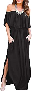 Othyroce Womens Off Shoulder Ruffle Party Long Dresses Casual Side Split Beach Maxi Dress with Pockets