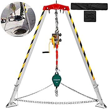 BestEquip Confined Space Tripod Kit 1200LBS Winch Confined Space Tripod 7  Leg Bracket and 98  Cable Confined Space Rescue Tripod 32.8  Fall Protection for Traditional Confined Spaces