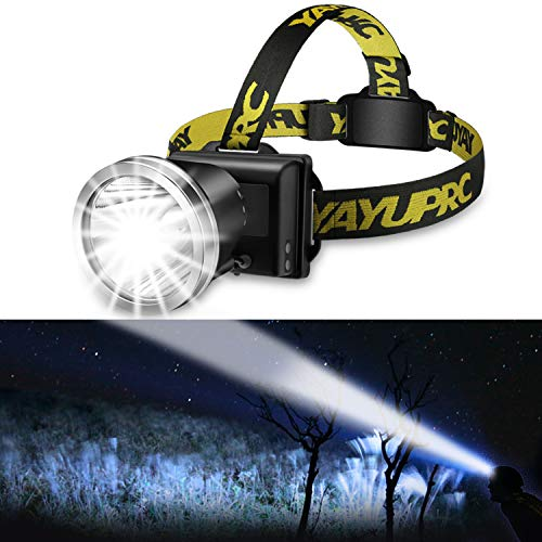 Headlamp Flashlight 3 Variable Beams Ultra Bright Spotlight USB Rechargeable Headlight for Adult - Waterproof Searchlight for Hunting, Hiking, Caving Spelunking, Running, Camping, Fishing