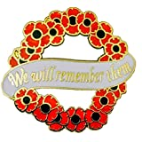 Centenary Red Flower Remembrance Badge Pin Wreath (Red, 30mm x 28mm)