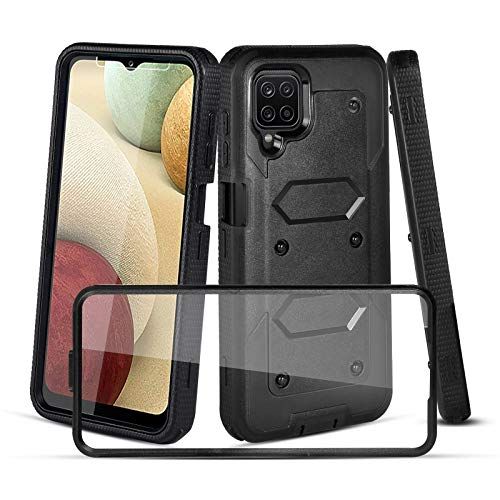 CaseTank Compatible with Samsung Galaxy A12 5G Case,Galaxy A12 5G Case W [Built-in Screen Protector] Heavy Duty Shockproof Full-Body Protective Armor Cover Case for Samsung A12,Black