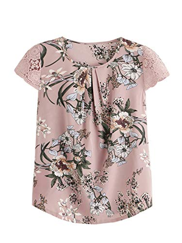 Milumia Women's Flower Print Lace Cap Sleeve Pleated Floral Blouses Chiffon Work Top Pink X-Large