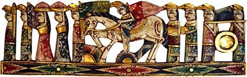 Guru-Shop Balinese Ceremonieën Houten Wanddecoratie - Muurschildering 6, 28x100x2 cm, Maskers Wanddecoratie
