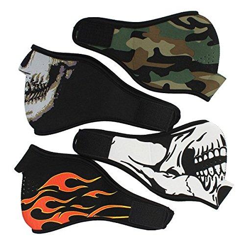 Bazaar 1 x Neoprene Half Face Reversible Biker Skateboard Motor Schädel Maske Geist CS Jagd Mask