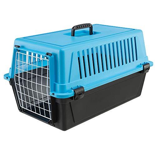 Ferplast Transportín rígido para Perros de Talla pequeña y Gatos Atlas 20 EL, Caja de Transporte para Animales, Puerta de Acero plastificado, Rejillas de ventilación, 37 x 58 x h 32 cm Azul Celeste
