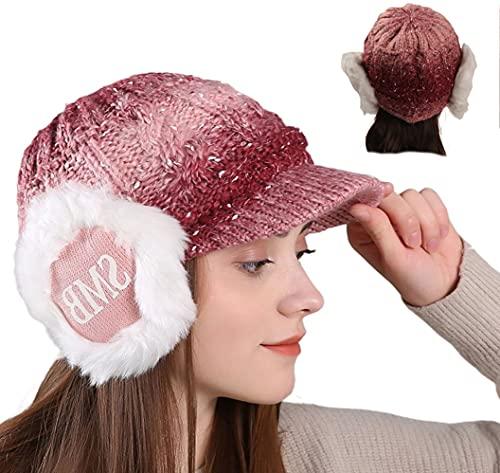 ZffXH Gorro de invierno con orejeras de lana de punto de béisbol gorras de ganchillo sombreros de...