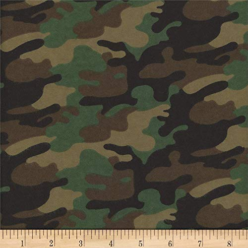 Mook Quilt Fabrics Flannel Camo Quilt Fabric, Army, Quilt Fabric By The Yard