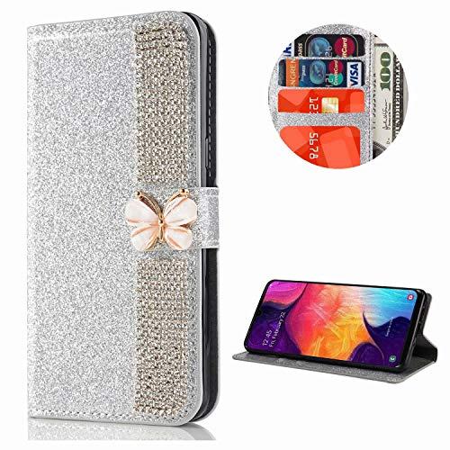 Miagon Hülle Glitzer für Samsung Galaxy A31,Diamant Strass Schmetterling Kette PU Leder Handyhülle Ständer Funktion Schutzhülle Brieftasche Cover,Silber