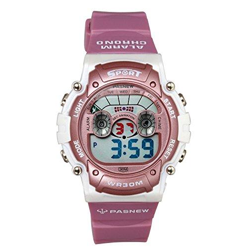 Lancardo Reloj Deportivo Digital con Dibujo de Camello Encantador Impermeable de 30M Correa de Silicona Multifunciones para Actividad Deportes Exteriores para Chico Chica Unisexo (Rosa)