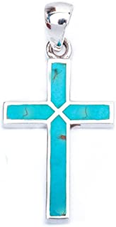 Cross Pendant Cross Charm Simulated Gemstone 925 Sterling Silver Choose Color (30mm)