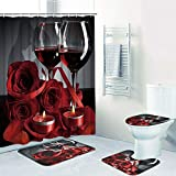 Alishomtll Valentines Shower Curtain Romantic Red Rose Flowers and Wine Shower Curtain Sets with Non-Slip Rug, Toilet Lid Cover, Bath Mat and 12 Hooks, Durable Waterproof Shower Curtain Sets
