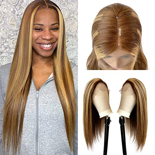 Highlights Human Hair Wig Medium Brown to Bleach Blonde Lace Front Wig Pre Plucked Hairline with Babyhair for Women 14 Inch Brazilian Remy Hair Wig 13x1 Deep Part Lace Wig Bleach Knots 150% Density