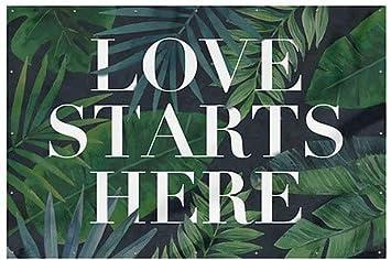 Love Starts Here Heavy-Duty Outdoor Vinyl Banner CGSignLab 6x4