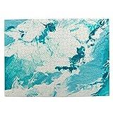 Rompecabezas con Imágenes 500 Piezas,Acuarela Splash Mármol Azul Creativo Con Ondas Abstractas Pintura Líquida Acuática,Juego Familiar Arte de Pared Regalo para Adultos,Adolescentes,Niños,20.4' x 15'