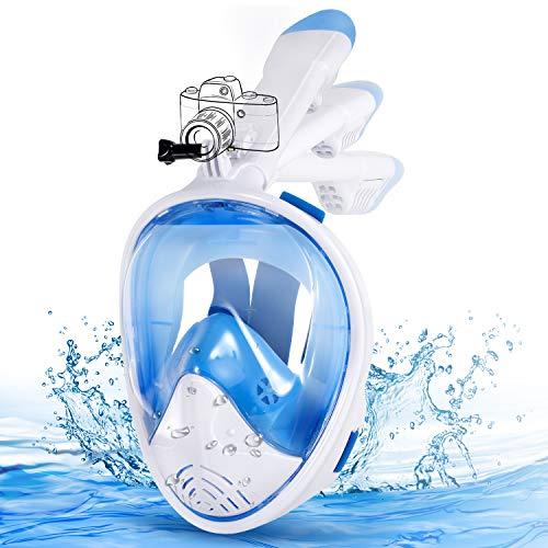 E-MANIS Máscara de Buceo Doble Antivaho 180 ° Vista Panorámico Cara Completa Respirar Gafas Snorkel Anti-Fugas Plegable con Cámara Acuatica Deportiva la Soporte, para Adultos y Niños S/M - Blanco Azul