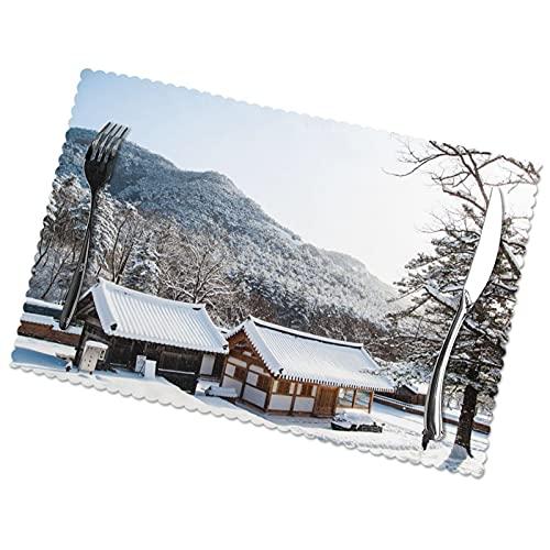 Juego de 6 manteles de nieve para mesa de comedor de tela lavable para decoración de mesas de restaurante familiar.