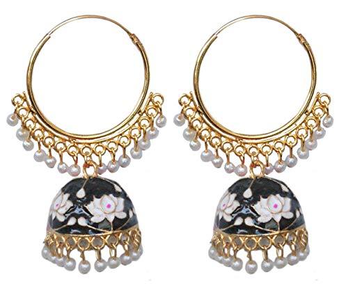 Pahal - Pendientes de aro Jhumka étnico Jaipur de color negro y blanco esmaltado de Meenakari, de oro grande indio, con perlas blancas para novia, joyería para mujer
