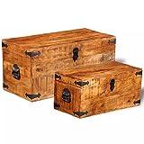 vidaXL Set 2 baúles de Almacenamiento Caja cajón contenedor almacenaje Madera