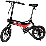 Swagtron Swagcycle EB-7 Elite Folding Electric Bike, 16-Inch Wheels, Swappable Battery with Keylock & Rear Suspension (Black),Large