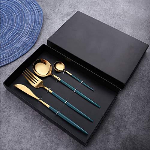 Rostfreier Stahl besteck set, besteck set 1 personen,Geschirr kann wiederverwendet werden,Messer, Gabeln, Löffel, Tee-/ Kaffeelöffel, Spiegelpoliert(Grün + goldenes)
