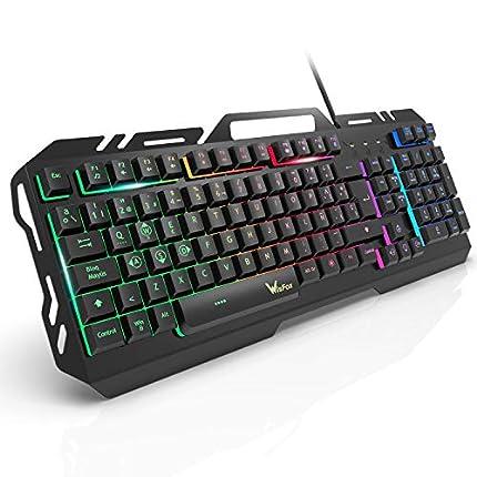 Teclado Gaming, WisFox Colorido Arco Lris LED Retroiluminación USB con Cable Teclado, Teclado de Computadora Ultra-delgado y Silencioso, de Panel de Metal con Diseño Resistente a Salpicaduras Juegos