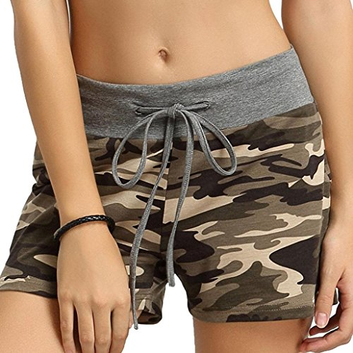 FNKDOR Damen Shorts Stoff Baumwolle Hot Pants mit Gummizug Kurz Hose Beach Sportshorts (S, A Camouflage)