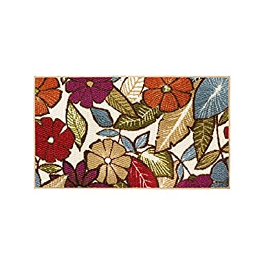 Modern Living Flowers Decorative Area Accent Rug, 18 by 30-Inch