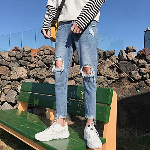 Woovitpl Fashion Cowboy Street Slim Big Knee Agujero Jeans Marca Masculina Estudiantes Harajuku Adolescentes Salvajes Mesito Pantalones 34