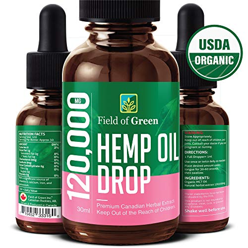 Field of Green Hempseed Oil Drops – Grown & Made in Canada (120000MG) Anti-Anxiety and Anti-Stress, Pain Relief, Mood…