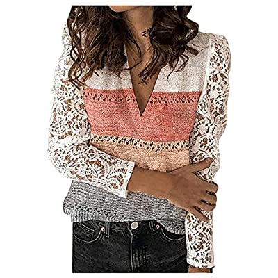 Women's Casual Lace Color Block Long Sleeve V-Neck Pullover Knit Top Sweater