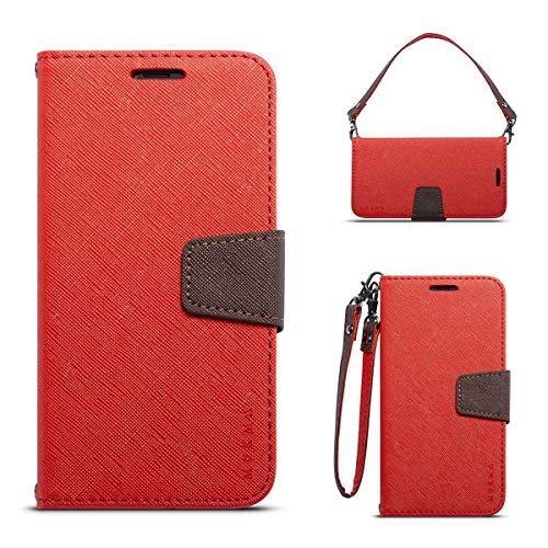 JEEXIA® Schutzhülle Für Nokia 6.1 Plus (2018), Retro PU Lederhülle Flip Cover Brieftasche Innenschlitzen Mit Stand Doppelte Farbe Ledertasche - Rot