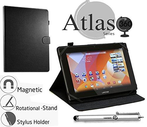 Navitech rotierbares bycast schwarz Leder Case/Cover/Hülle mit Stylus Pen für das Medion Lifetab S8312 wie bei ALDI