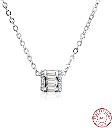 Women Necklace, Home S925 Sterling Silver Necklace Korean Fashion Diamond Ring Pendant Clavicle Chain