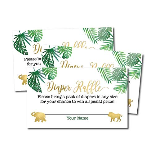 25 Safari Diaper Raffle Ticket Lottery Insert Cards For Girl or Boy Baby Shower Invitations, Supplies and Games For Neutral Gender Reveal Party, Bring a Pack of Diapers to Win Favors, Jungle Animals