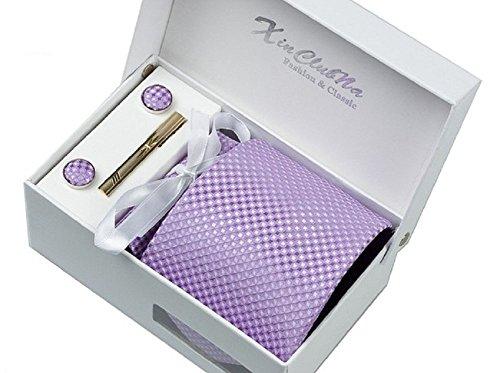 S.R HOME Coffret Cadeau Ensemble Cravate homme, Mouchoir de poche, épingle et boutons de manchette Violettes a points