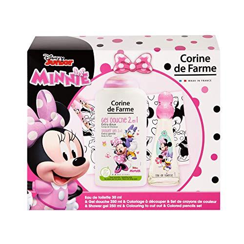 Corine De Farme | Minnie Coffret Cadeau | Disney| Parfum Enfant 30ml | Gel Douche Enfant 250ml | Coloriage Enfant | Crayons de couleurs |Fabriqué en France