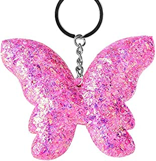 Luxurious Butterfly Pendant Keychain,Glitter Sequins Key Ring Holder Bag Hanging Fine Workmanship Decor Gift,Colour:Pink (...