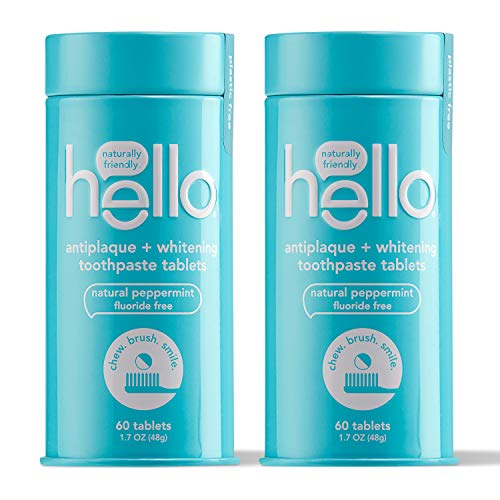 Hello Antiplaque + Whitening Toothpaste Tablets Gently Remove Surface Stains, Delicious Farm Fresh Peppermint, Fluoride Free, 2 Plastic-Free, Travel-Friendly, & Reusable Metal Containers, 120 Tablets