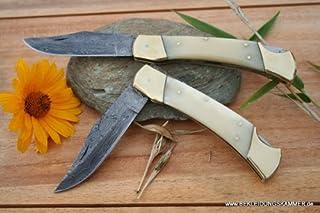 Cuchillo de Damasco Big worker hueso tiempo similar a cuchillo de Damasco cuchillo de pan de Buck, New