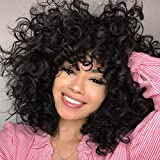 Short Loose Curly Wigs FluffyWeave Curl Afro Synthetic Hair Wig Natural DailyHalf Wigs for Black Women and White Women Breathable Rose Net Wigs (1B Natural Black)