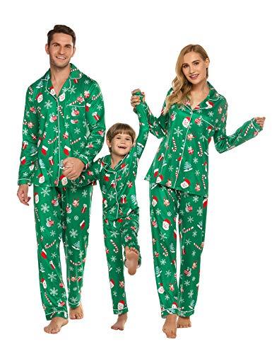 ADOME Schlafanzug Familie Outfits Hemd Pyjama und Hose Pyjama Set für Kinder, Jungen, Mädchen, Herren,Damen, Pat3, Gr.- Kinder-130