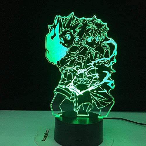 Lámpara de dormir con luz nocturna 3D para niños Hunter Gon y Killua Figura para decor de dormitorio infantil Ventiladores de luz Regalo Niños Led 7 colores Control táctil de cambio-Control remoto