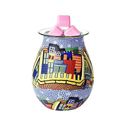 Wovatech - Lámpara de aroma 3D – Calentador eléctrico de aceite esencial de cristal, aroma de luz nocturna, quemador de...