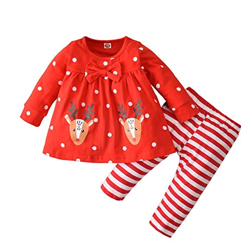 Shirt Luv Infant Baby Girls Long Sleeve Christmas Deer Print Tops Stripe Pants Outfits Set (Red 100) Winter Fall Clothes for Woman