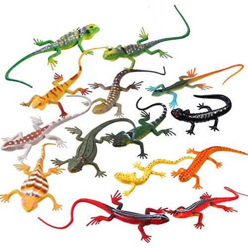 24 Piece Artificial Model Reptile Lizard Colorful Plastic Lizards Toy Action Figure Educational Toys for Kids Adults Gifts, 12 Designs