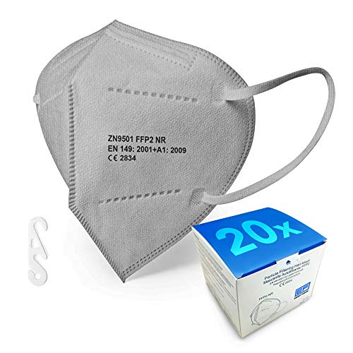FFP2 Maske graue - Schachtel à 20 Stück - EU CE Zertifiziert, mit verstellbarem Gummiband und anpassbarem Nasenbügel| 5 Filtrationsschichten, Schützt drinnen und draußen