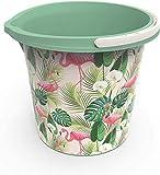 Rotho Vario Art Eimer 10l mit Henkel und Ausguss, Kunststoff (PP) BPA-frei, grün/flamingo, 10l (29,2 x 29,2 x 25,9 cm)