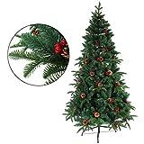 クリスマスツリー 枝大幅増量タイプ 松ぼっくり付き 赤い実付き おしゃれな クリスマスツリー 180CM KSBM